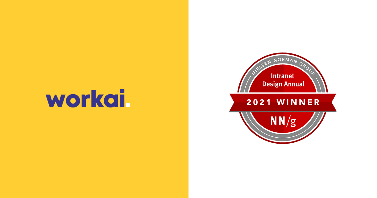 Workai wins Best Intranet Design 2021 by Nielsen Norman Group